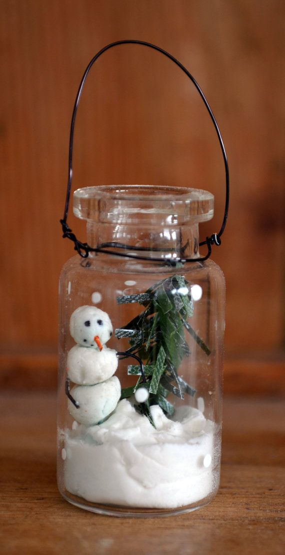 Tiny snowman Christmas decoration vignette by WoodenHeartCo