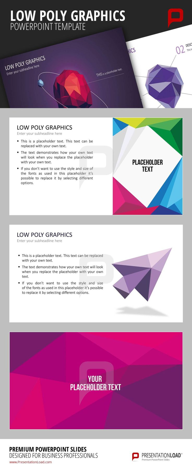 Follow new design trends and work with Low Poly Graphics in your next PowerPoint presentation. The interesting forms and the powerful colors make an excellent impression. @ http://www.presentationload.com/low-poly-graphics.html