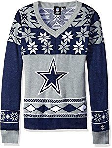 NFL Women's V-Neck Sweater, Dallas Cowboys, M... by Klew http://amzn.to/2gwTpJY