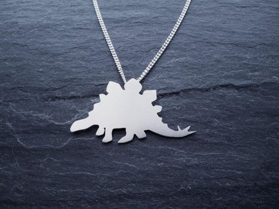 Stegosaurus Dinosaur Necklace in sterling silver