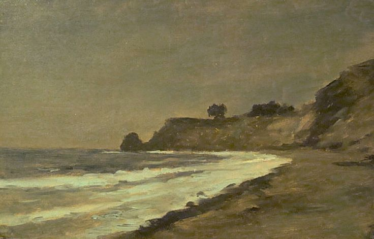 The Night Beach in Southern California by Lockwood de Forest 9.5x14 Oil