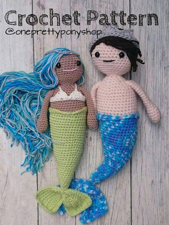 CROCHET PATTERN Mermaid/ Merman amigurumi doll by OnePrettyPony