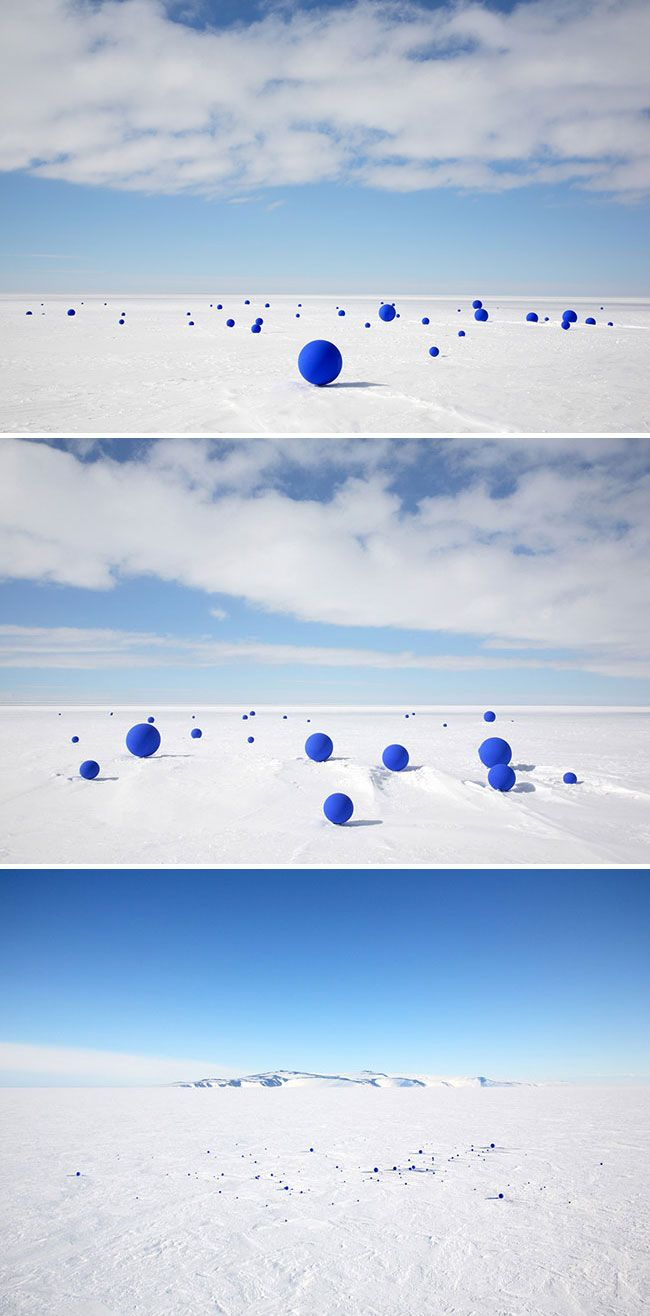 'Stellar Axis' by Lita Albuquerque in Antarctica (99 blue spheres correspond to 99 stars in the Antarctic sky, creating an massive constellation at the Earth's pole)