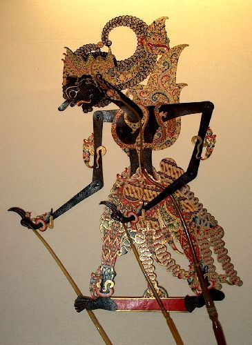 "The ""Gatotkaca"" pictured here is a traditional Indoneisan puppet used in performance."