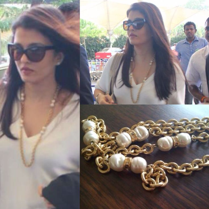 Spotted Aishwarya Rai Bachchan wearing her favourite Viange buy again - a vintage Fendi pearl necklace! We love that Ash loves her vintage jewels