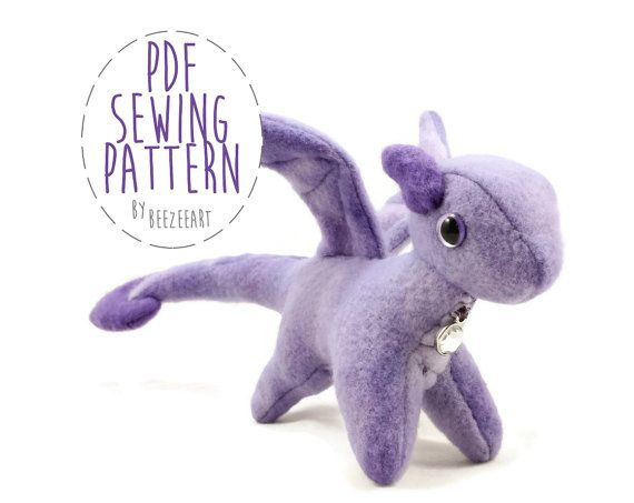 Tiny Dragon Stuffed Animal Sewing Pattern Small by BeeZeeArt                                                                                                                                                                                 More