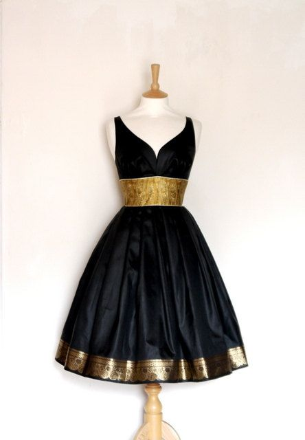 Size Uk 14 US 12 Black & Gold Sari Party Dress by digforvictory, £125.00