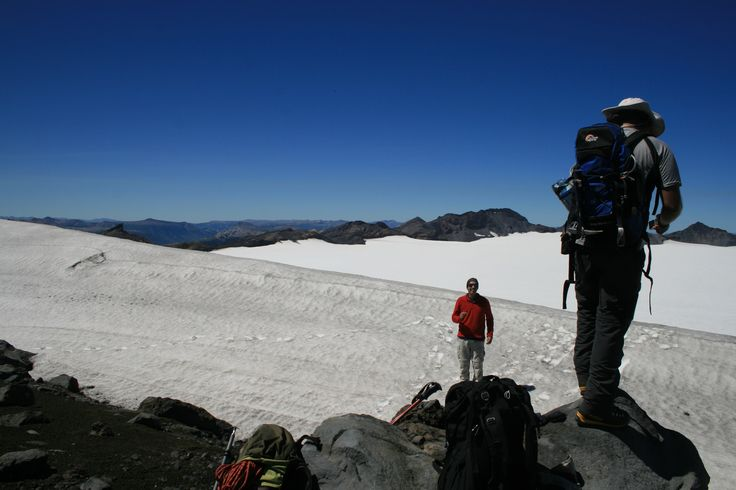 The ice-filled summit crater of Volcan Sollipulli, Chile.
