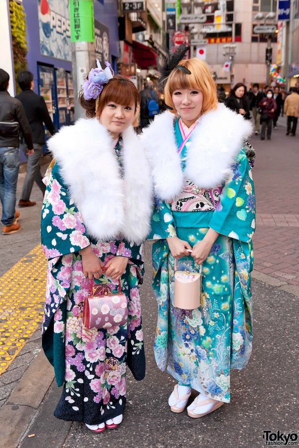 Coming of Age Day (Seijin no Hi) in Tokyo 2012. 20-year-old girls dress up in kimonos and have their hair and make up done.
