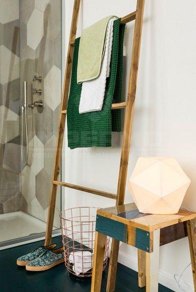 badkamer, tegel, zeshoek, patroon, beigetinten