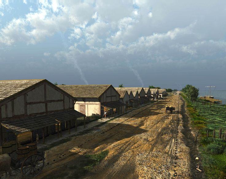 Nederzetting langs de Limesweg bij Valkenburg. Tekening van Mikko Kriek