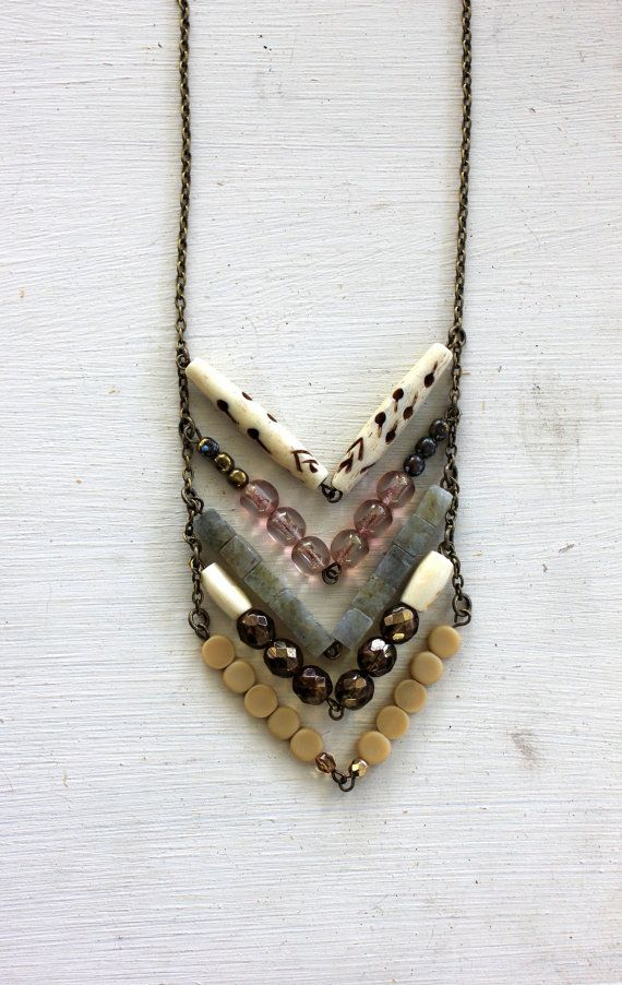 Chevron necklace It would be so cute with some turquoise too.