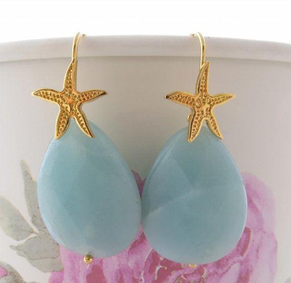 Amazonite earrings dangle earrings blue stone by Sofiasbijoux