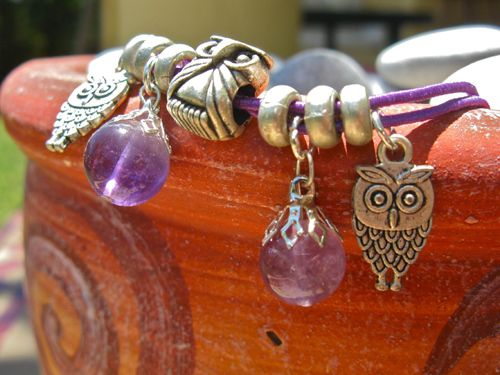 Guardian owl anklet with amethyst gemstones