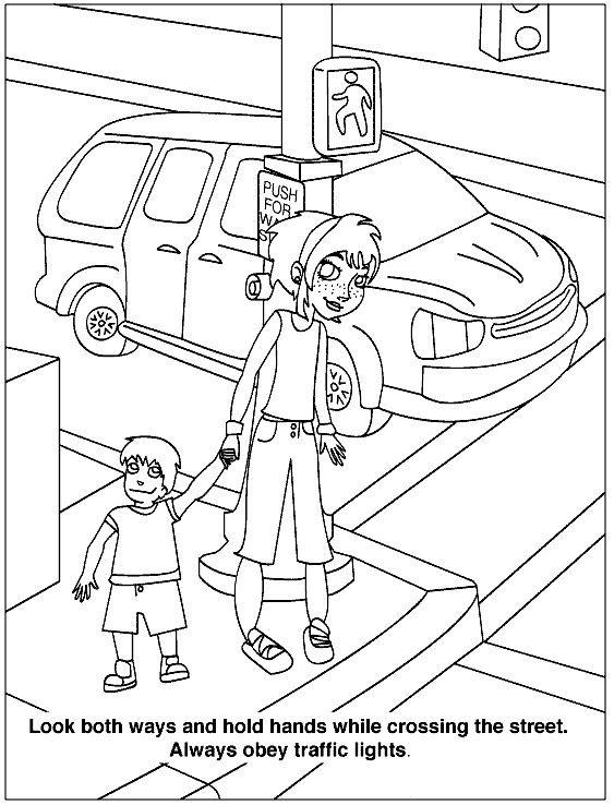 Look both ways health and safety color page, education