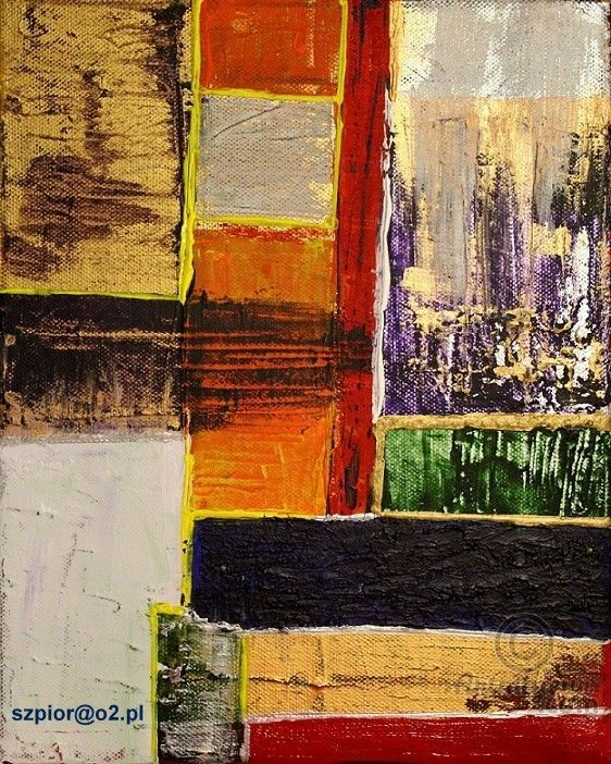 Paczwork's - Painting,  24x30x4 cm ©2016 by szpior amenra -                                                                    Abstract Expressionism, Abstract Art, Contemporary painting, Canvas, abstrakcja, inny, abstraction, contemporary painting, abstração, Chūshō-ka, 抽象化