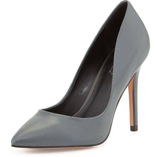 Charles David Pact Pointed-Toe Pump (£33) ❤ liked on Polyvore featuring shoes, pumps, heels, dk grey, pointed-toe pumps, leather shoes, charles david pumps, grey pumps and grey leather shoes
