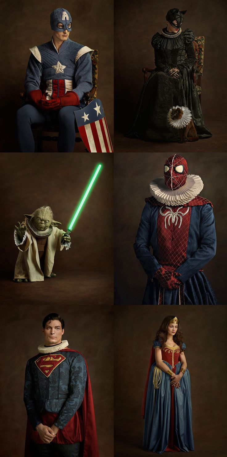 French photographer Sacha Goldberger's photography series Super Flamands reimagines superheroes and sci-fi icons posing as 16th century Flemish paintings.