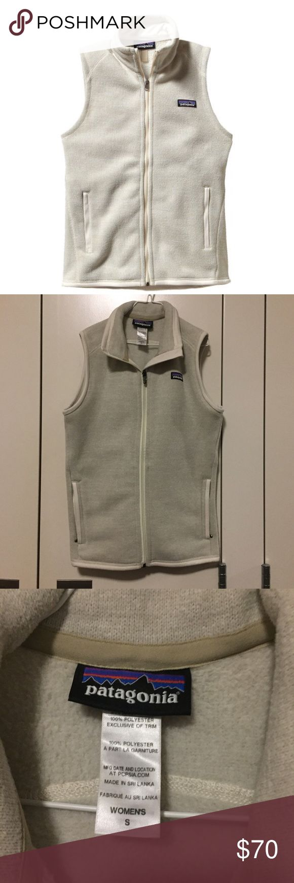 Patagonia Better Sweater Fleece Vest Light tan/cream colored Patagonia fleece vest! Lightly worn, but still in near perfect condition! Somewhat firm on my price because it's in such good condition, but feel free to make an offer! Patagonia Jackets & Coats Vests