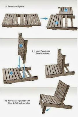 You can simply create your own wooden chair through pallet. Just separate its two pieces, put them one into another as shown. After that fold the legs underneath and you are ready to take your seat, relax and enjoy.