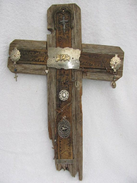 Rustic slanted cross crooked cross recycled wood by AnnDanCes