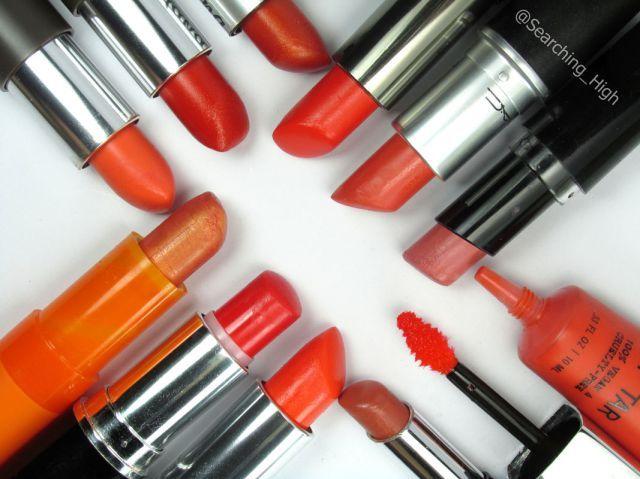 Mis labiales naranja y durazno favoritos - Searching High  #lips #orange #peach #lisptick #naranja #durazno #labiales #maquillaje #make up #review #reseña #revisión #mac #jordana #petrizzio #maybelline #ésika #occ #wetnwild #make up for ever  #cyzone