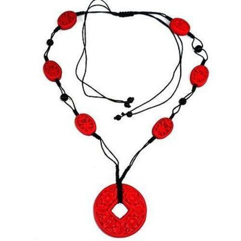 Starfish Project - Carved Red Wood Beads On Black Cord Necklace - Starfish Project