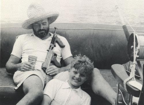 Earnest Hemingway...drink, gun, son and fishing rod... A Real Thompson. Wow. What would that gun be worth. Ernest Hemingways Thompson