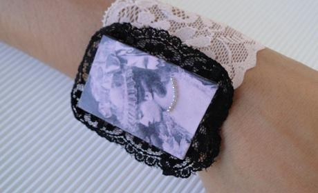 bracelet with pink lace