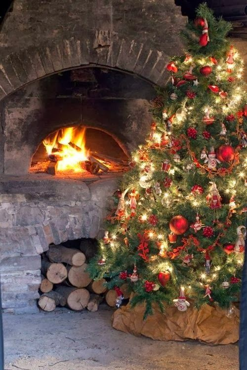 I want an outside fireplace to put a Christmas tree beside! :)