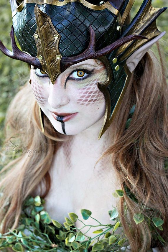 Forest Dragon Queen Crown Larp Leather Green Gold Fantasy Medieval Mask | Dragon Costume ...