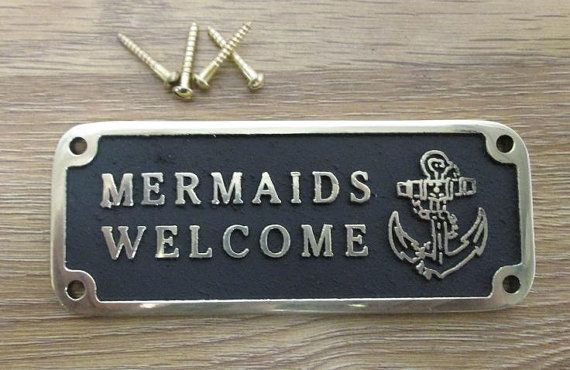 Nautical Gift Mermaids Welcome brass plaque by TheMetalFoundry