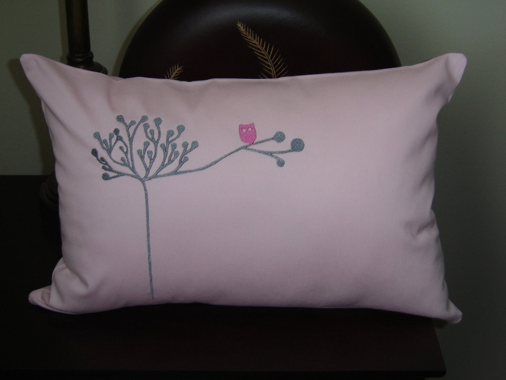 Owl Throw Pillow Etsy : Owl in Tree Pillow Cover Pink Cushion Children Decor Owl Decor Throw Pillow Accent Pillow ...