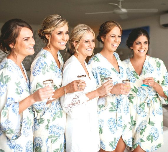 "Add some colour to your wedding day with Piyama's signature Kimono Bridesmaid  Robes $69 in beautiful, bespoke prints! Super soft and feminine, making it perfect to wear in ""getting ready"" wedding photos! Shop it via the Piyama Bridal Etsy Boutique. @piyamasleepwear"