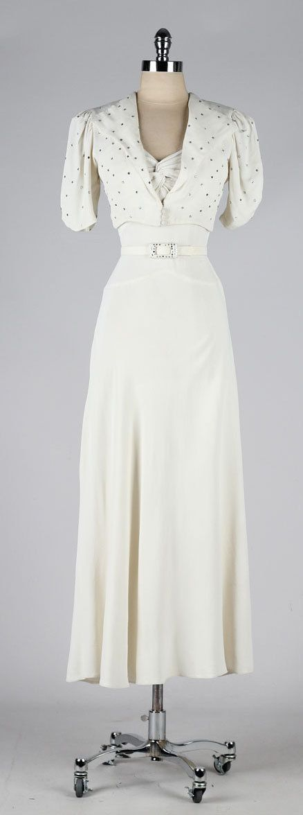 vintage 1930s dress . ivory wedding gown . by mill…