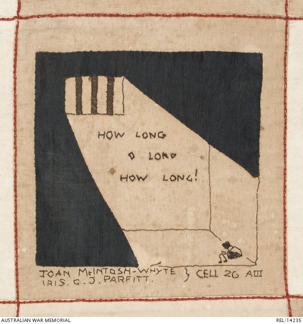 Embroidered Australian Changi quilt (detail): Female internees, Changi Prison. 1942 (Black fabric applique and black and brown satin and running-stitch showing a small figure sitting in a shaft of sunlight in a Changi cell, with the words 'HOW LONG O LORD HOW LONG!'. Underneath the signatures 'JOAN MACINTOSH-WHYTE [Joan Mary McIntosh-Whyte] IRIS G.PARFITT [Iris Gladys Joyce Parfitt] CELL 2G AIII').