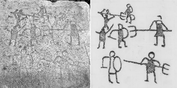 Graffiti discovered in the ancient city of Aphrodisias shows gladiator fights between a retiarius (a gladiator armed with a trident and net) and a secutor (gladiator equipped with a sword and shield). Credit: Drawing by Nicholas Quiring, photograph courtesy Angelos Chaniotis