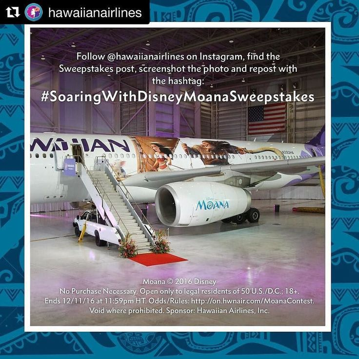 #Repost @hawaiianairlines with @repostapp  Enter the Hawaiian Airlines #SoaringWithDisneyMoanaSweeptakes for a chance to win 140000 HawaiianMiles  Moana-inspired gear! Enter by December 11 2016. Follow the instructions in the photo.  NO PURCH NEC.  Open only to legal residents of 50 U.S./D.C.; 18. Ends 12/11/16 at 11:59pm HT. Odds/Rules: http://on.hwnair.com/soaringmoana.  Void where prohibited. Sponsor: Hawaiian Airlines Inc.