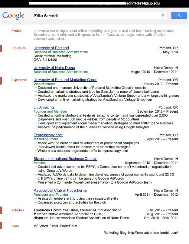 Resume for google internship