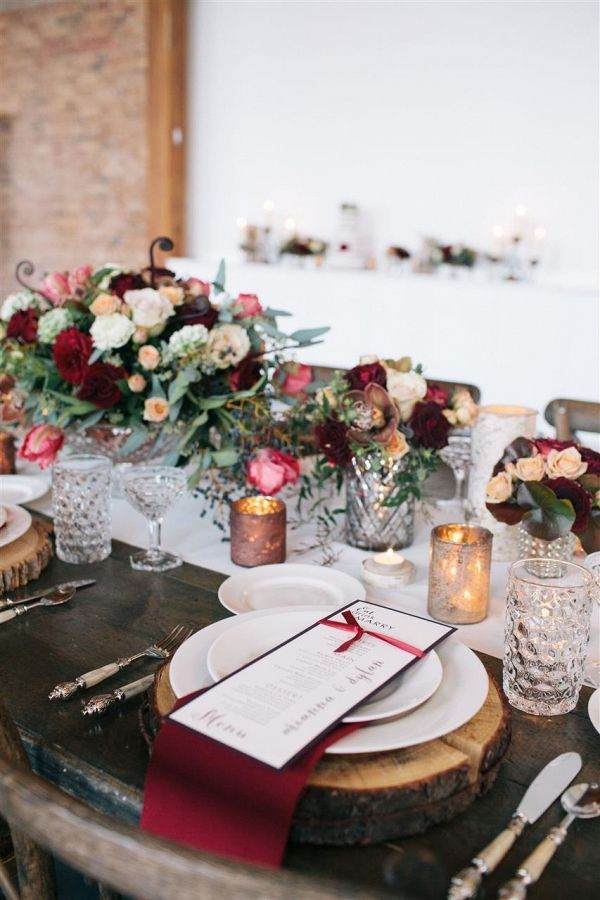 Abounding with lush florals in rich shades of Marsala, copper and ivory, that contrast beautifully with the loft style venue and the rustic, farm dining table; this modern-vintage styled wedding shoot somehow manages to be intimate and elegant, charmingly rustic yet utterly romantic, all at once.