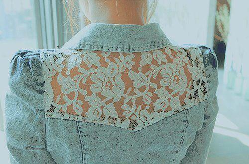 vintage: Laceback, Jeans Shirts, Jeans Jackets, Lace Jackets, Denim Shirts, Denim Jackets, Lace Jeans, Lace Back, Lace Panels