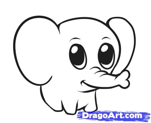 step 6 how to draw a simple elephant more - Images Of Drawings For Kids