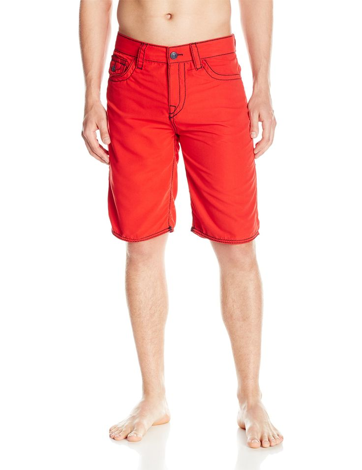 True Religion Men's Big T Board Shorts, Red, 28