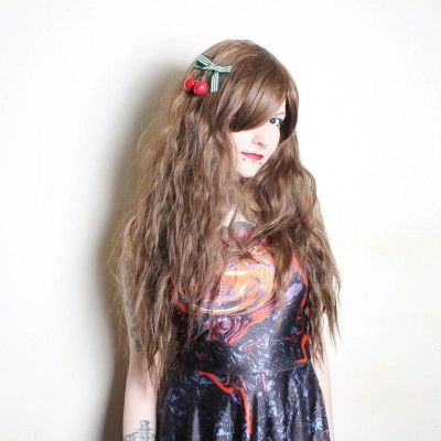 Forest Girl - Lush Wigs - Brown Crimped Waves Curls Natural Mori Lolita Cosplay Lush Wig