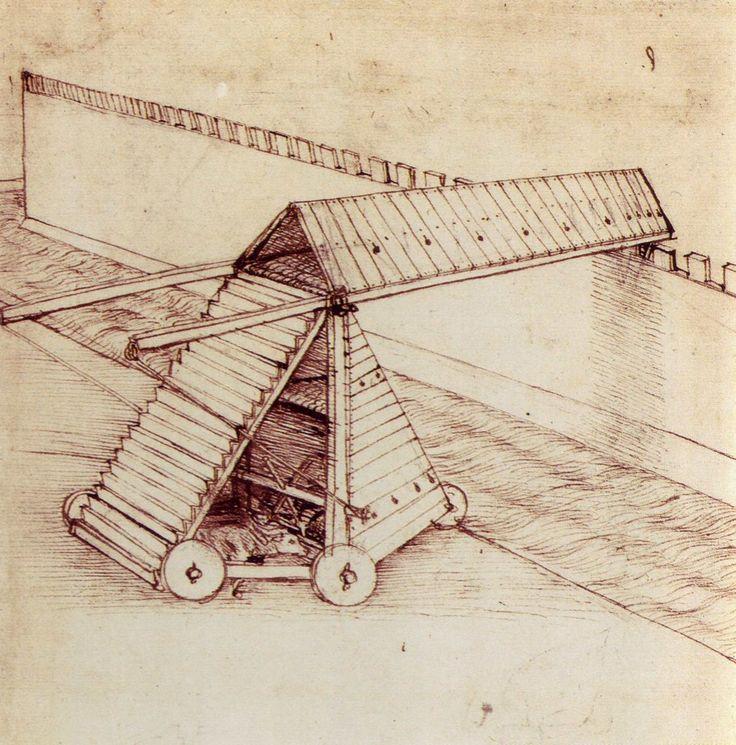 Voici un machine de guerre (siège) dessinée (imaginée?) par Leonard da Vinci. Pour en voir d'autres: www.dawingsofleonardo.org