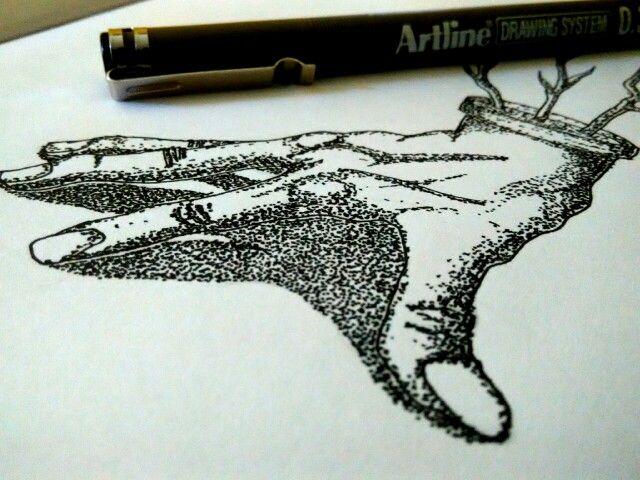 Tangan tumbuh #pointilis # drawing # skacthbook