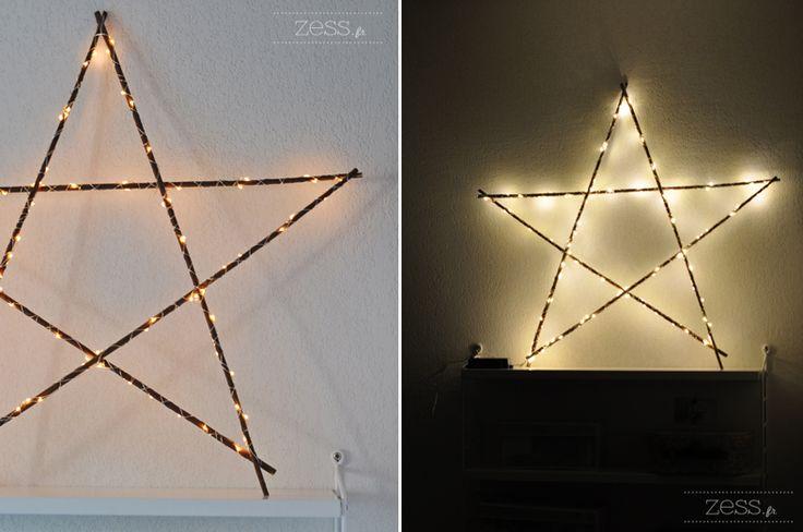 DIY TUTO: l'étoile lumineuse avec des branches www.zess.fr/diy-tuto-letoile-en-bois-lumineuse/