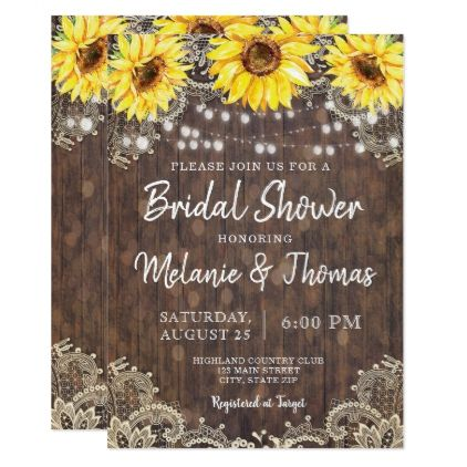 Country Lace Sunflowers Bridal Shower Invitations - engagement gifts ideas diy special unique personalize