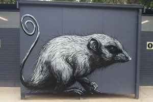 "In Australia for his solo exhibition ""Carrion"" at Backwoods Gallery, Roa unsurprisingly already painted a few spots with his black and white animals. The native mountain pygmy possum and platypus were both subjects of the artist's newest walls in Victora. For a possum, it sure looks adorable and huggable."
