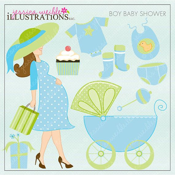 Boy Baby Shower Cute Digital Clipart for Card by JWIllustrations, $5.00